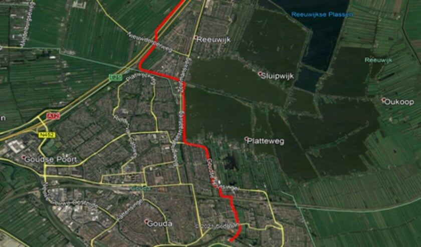 Het tracé van Broekvelden naar Gouda Zuid